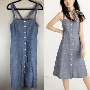 NWT Madewell Chambray Button Midi Dress Size 12